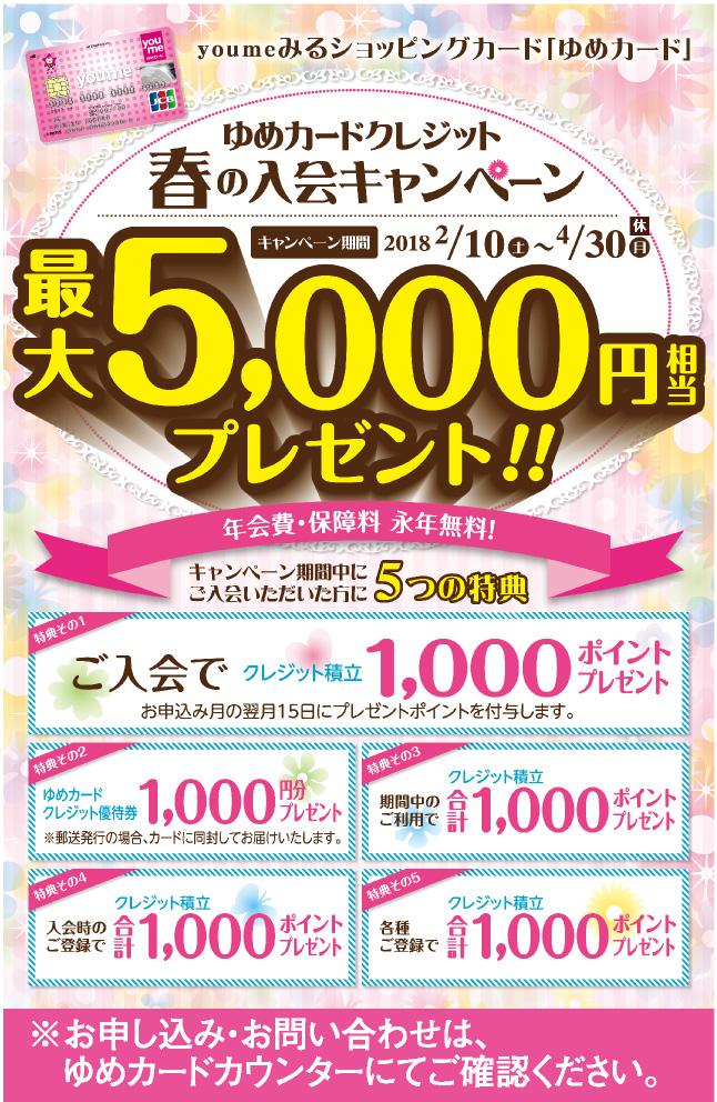 ゆめカードクレジット春の入会キャンペーン