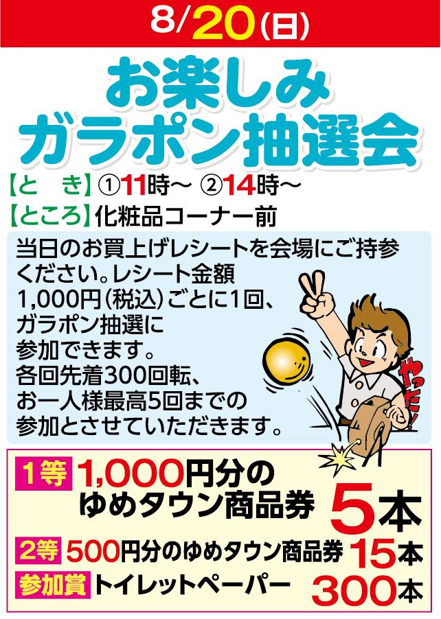 8/20お楽しみガラポン抽選会